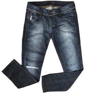 Hudson Distressed Jeans Dark Ombre Wash Straight